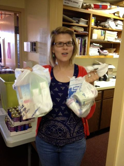 A volunteer helped pack and brought oatmeal, granola bars, and soup to donate!